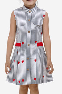 Fairies Forever Heart Print Front Pleated Casual Dress-Red and Grey