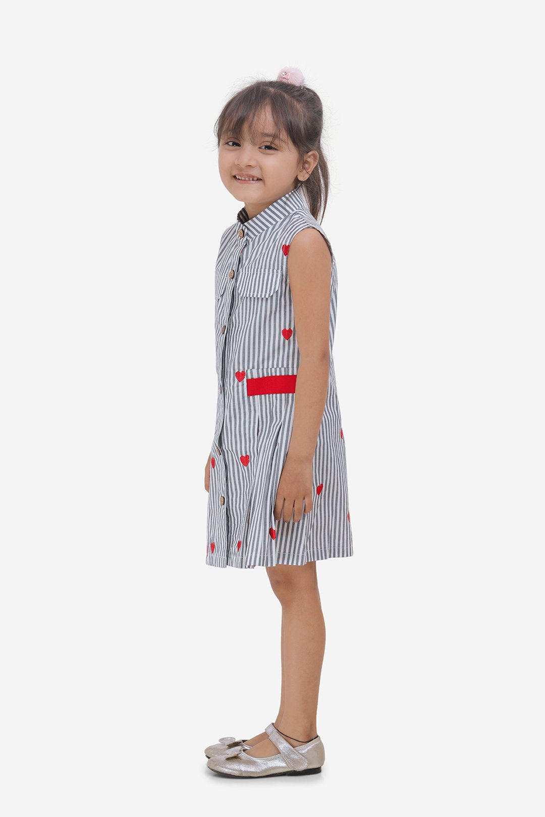 Heart Print Front Pleated Casual Dress-Red and Grey