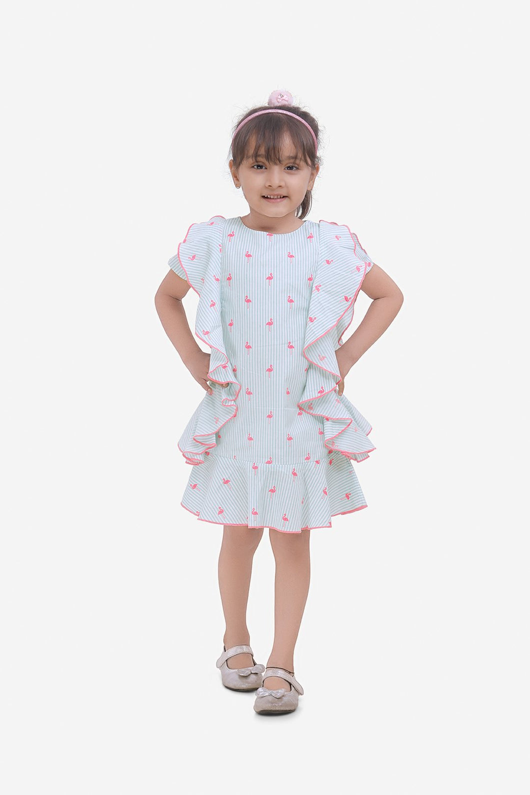 Fairies Forever Flamigoes with Stripes Dress-White and Green