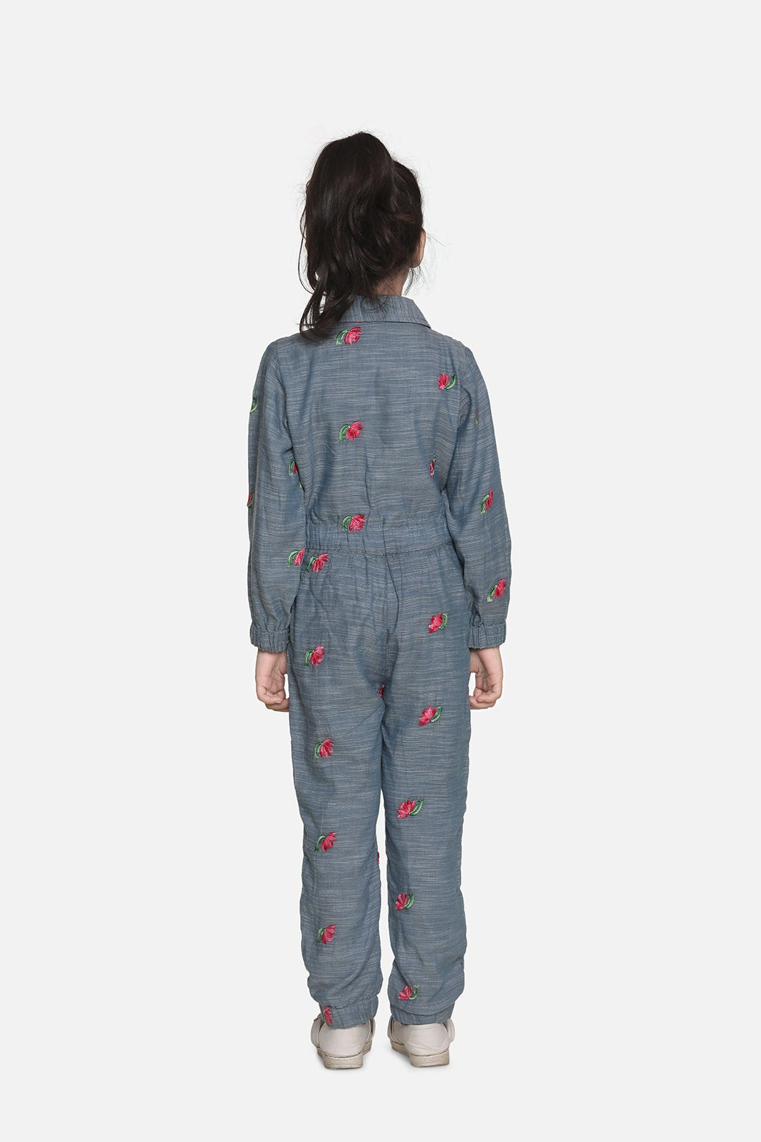 Fairies Forever Embroidered Front Flap Jumpsuit-Chambray