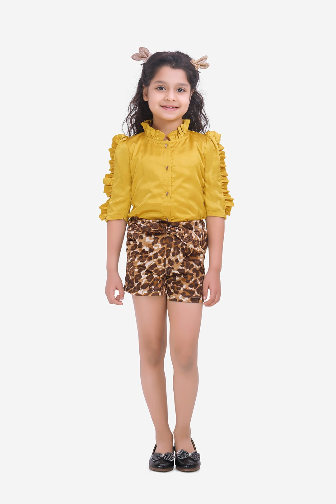 Fairies Forever Mustard Yellow to Pand Brown Shorts