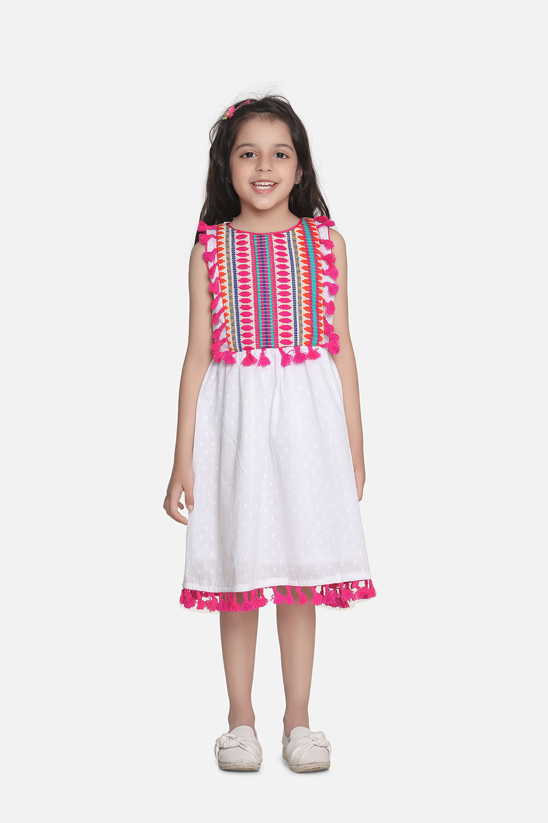 Bohemian Style Cotton Dress-White and Pink