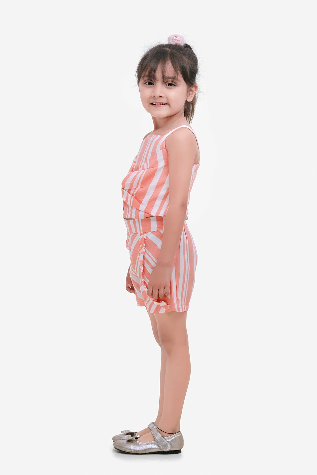 Peach Striped Front Bow Top And Short Set