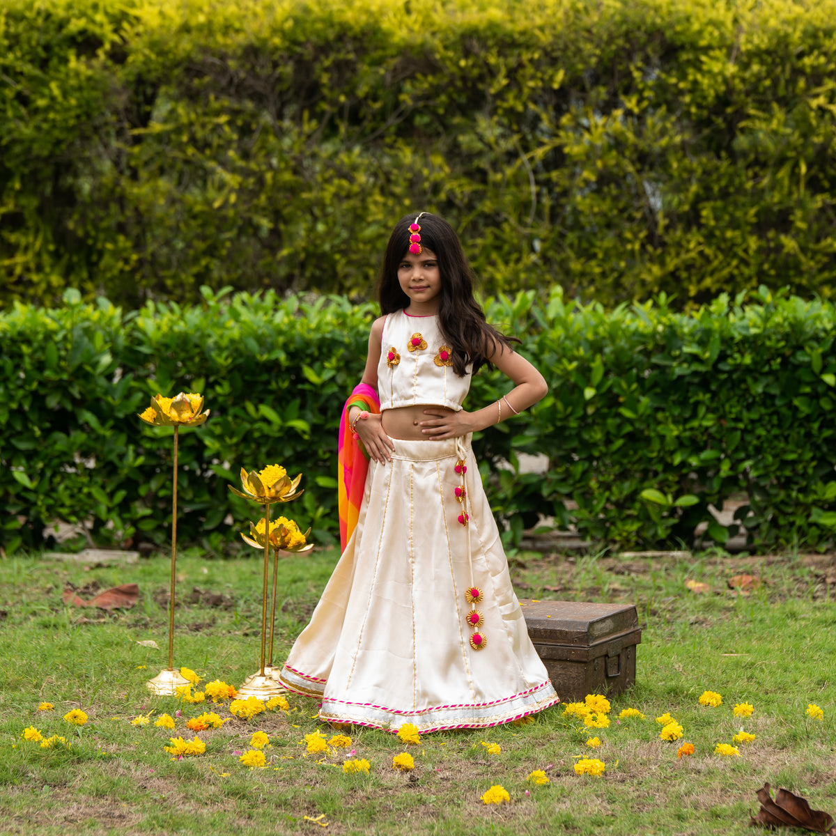 Cream Lehenga with Colorful Dupatta