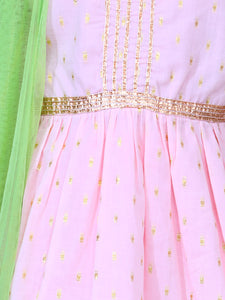 Pink Sharara Set with Green Dupatta