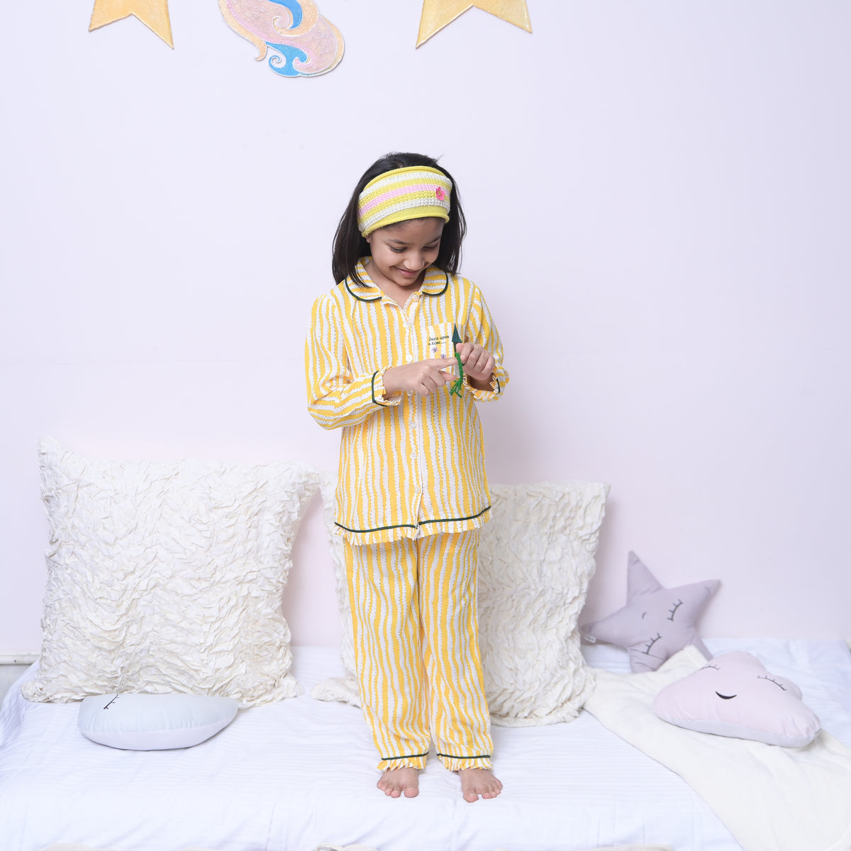Story Time Yellow Stripes Cotton Night Dress