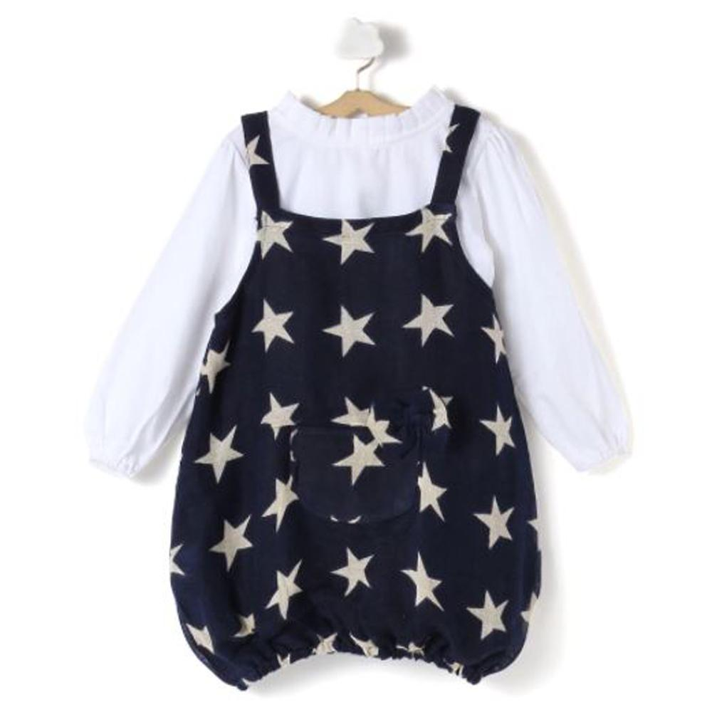 Cute Stars Printed Pinafore with T-shirt