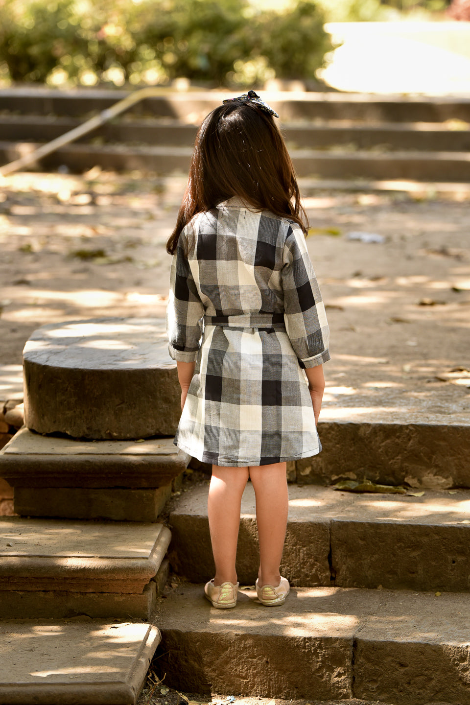 Collar Neck Dress with Checks Print