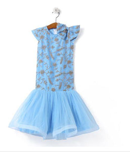 Fairies Forever Embroidered Net Party Dress-Blue
