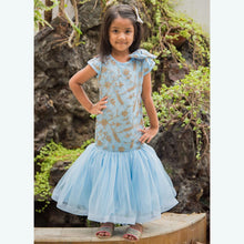 Load image into Gallery viewer, Fairies Forever Embroidered Net Party Dress-Blue