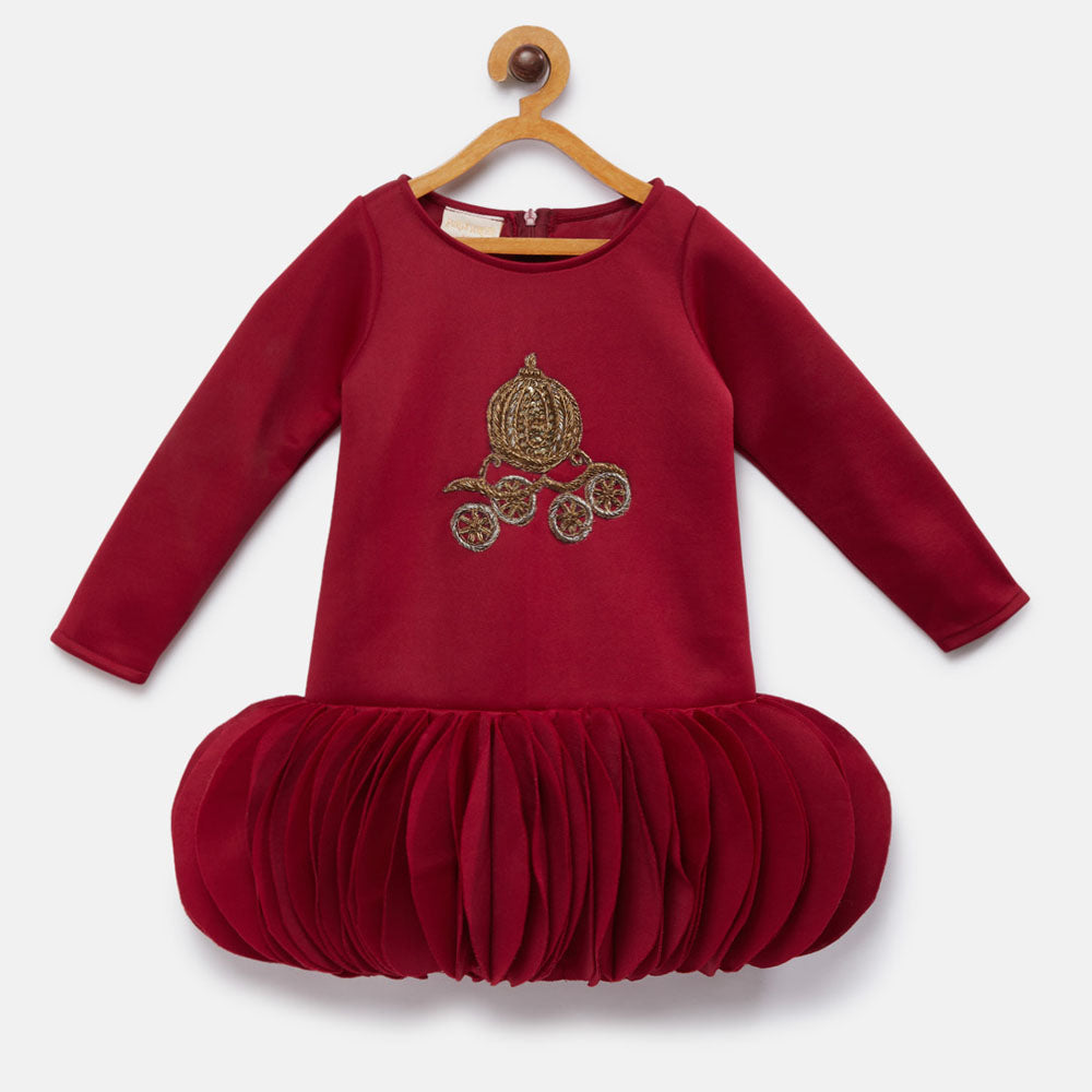 Maroon Full Sleeve party Dress with Embroidery