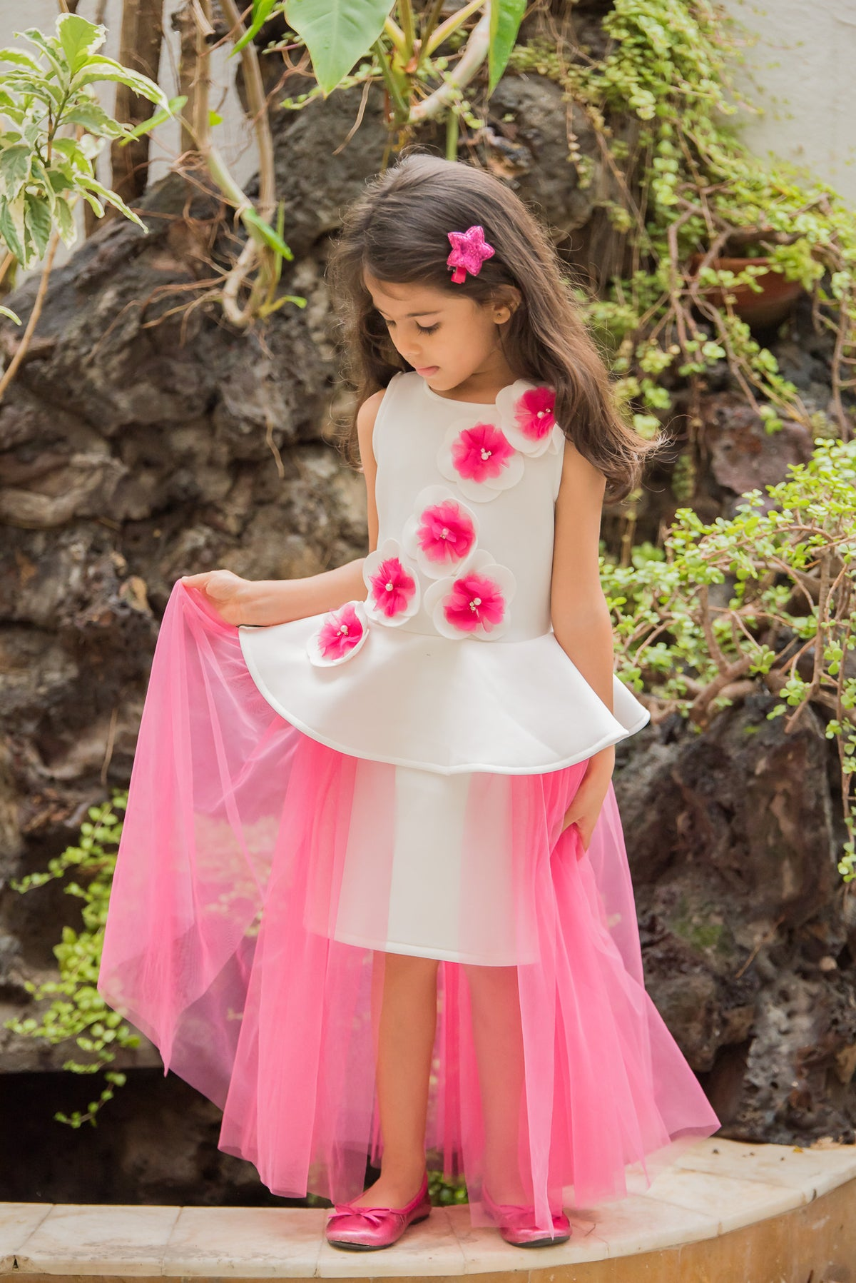 Falling Flowers Pink Party Dress