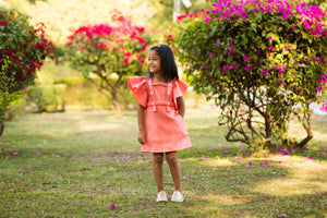 Fairies Forever Girls Peach-Coloured Solid A-Line Dress