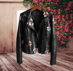 Embroidered Floral Leather Jacket