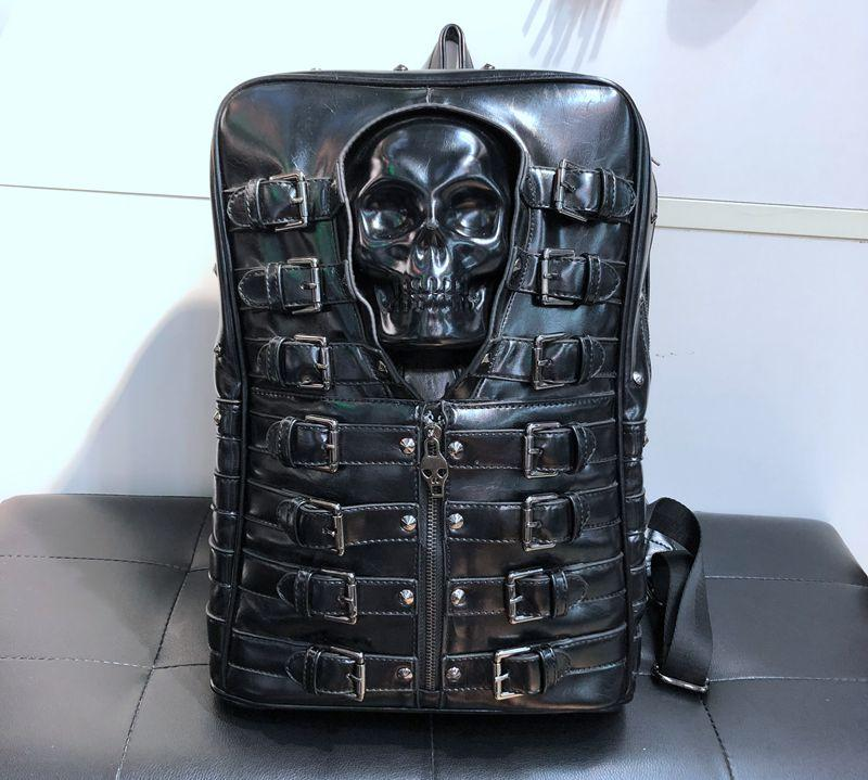 Unisex Skull Leather Backpack