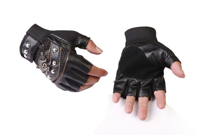 Skull Motorcyclist Leather Gloves