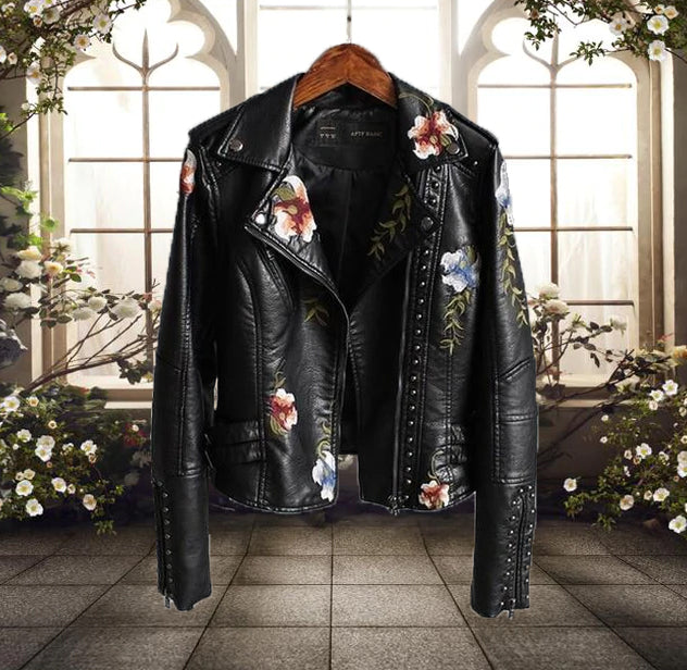 Women's Floral Leather Jacket