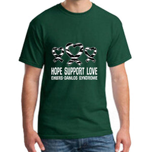 """Hope - Support - Love"" Ehlers-Danlos Syndrome T-Shirt - ImagineWe Publishers"