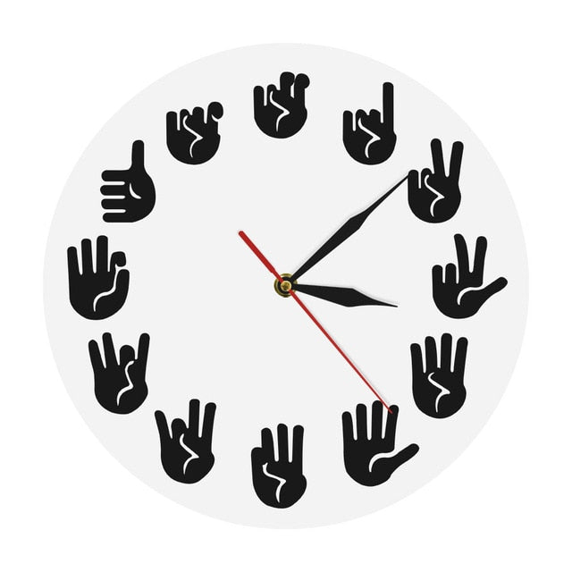 American Sign Language Wall Clock Unique Handmade ASL Clock Wall Decor Gift For Teacher Classroom Teaching Aid For Telling Time - ImagineWe Publishers