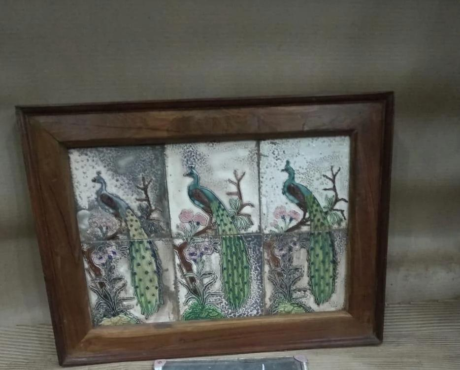 WOODEN PEACKOCK TILES FRAME