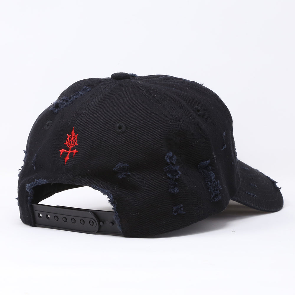 """DARK METAL"" LOGO DISTRESSED CAP  (BLACKxRED)"