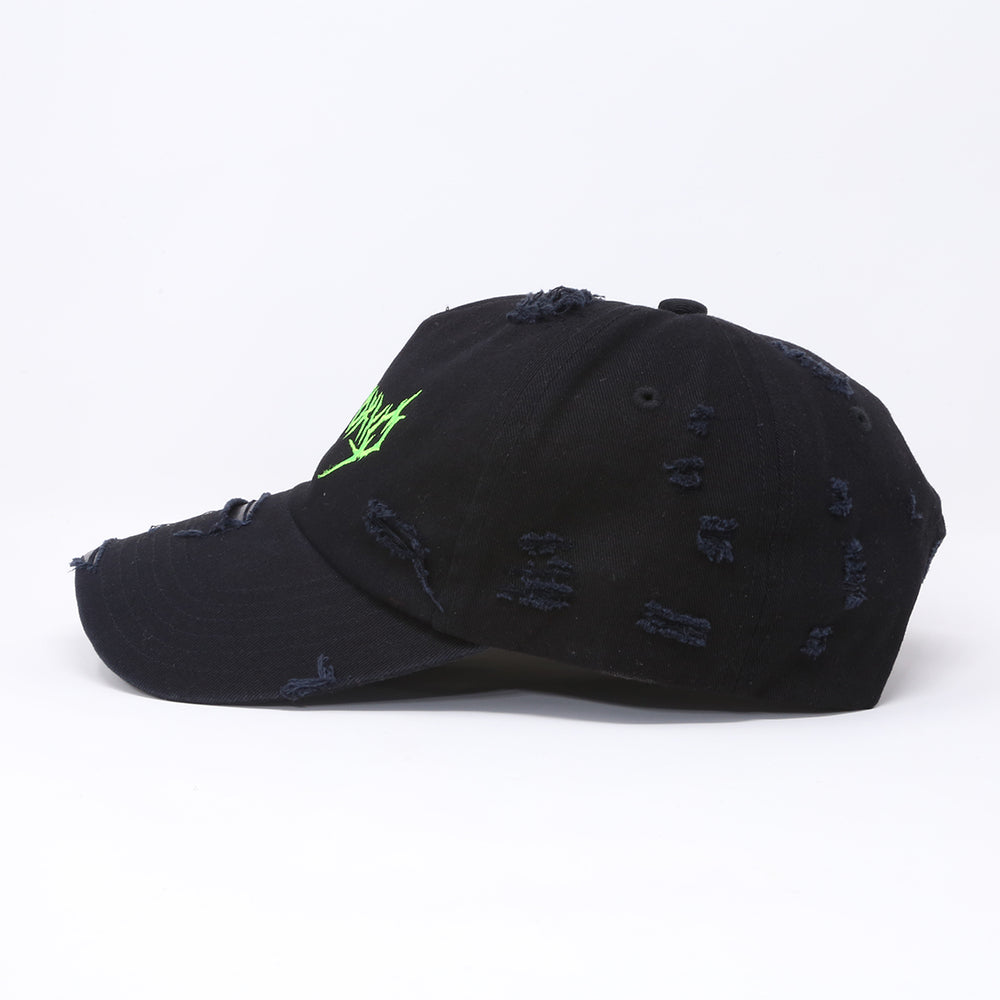 """THRASH METAL"" LOGO DISTRESSED CAP  (BLACKxNEON)"