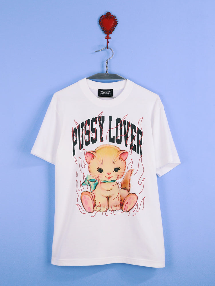 PUSSY LOVER (WHITE) TEE