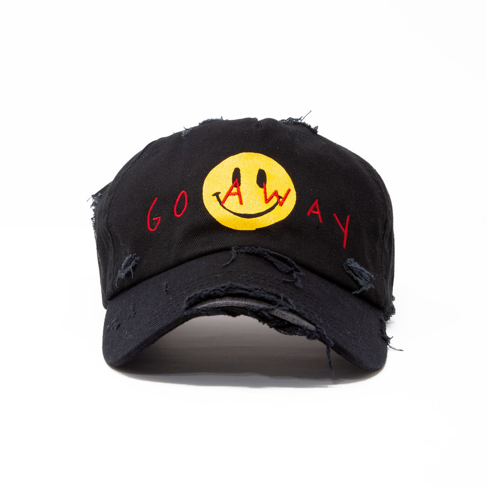 """GO AWAY"" DISTRESSED HAT"