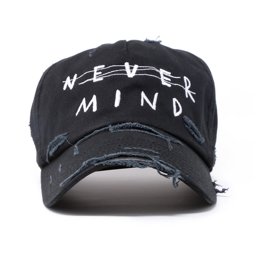 """NEVER MIND"" DISTRESSED HAT"