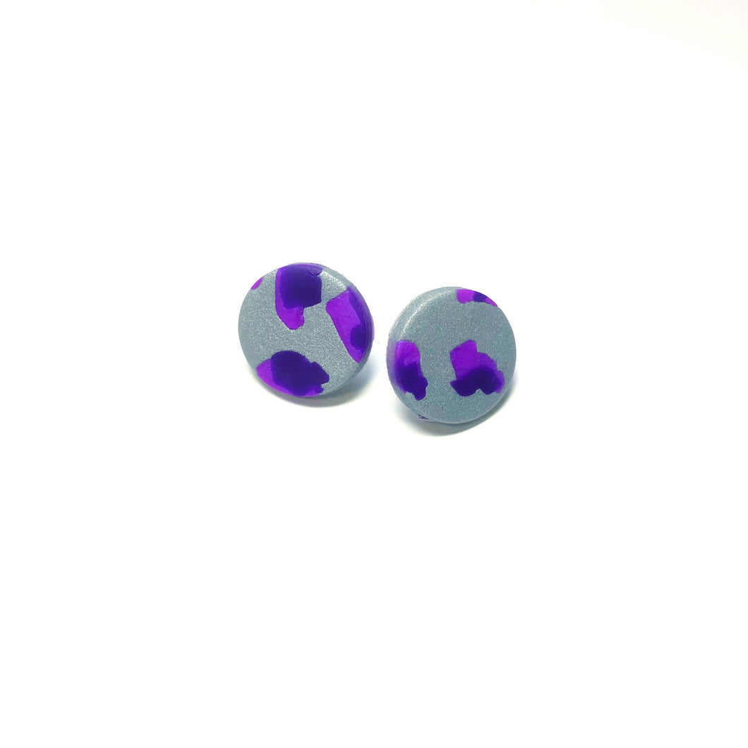Purple Leopard Polymer Clay Studs