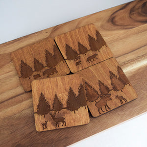 Boreal Forest Animal Coasters