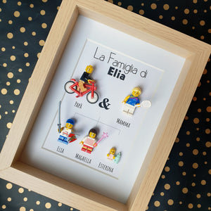 Family tree in Lego minifigures customizable online, the ideal gift for a birthday, Christmas, a wedding, a birth - more than 400 bricks to discover online to create your portrait on Les Portraits de Felie