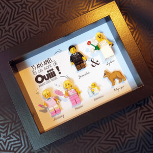 Wedding couple love leave married union request Lego bricks Portrait frame family friends children babies animals custom figurines personalized minifigure pacs art decoration Portraits of Felie personalized customizable alliance bouquet of flowers renew vows 35 years after original customizable wedding gift