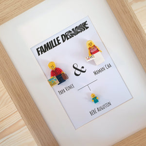 Family Portrait Frame Lego Bricks Kids Babies Minifigures Custom Personalized Minifigure Grandparents Sister Brother Family Tree Art Couple Decoration Baby Fathers Day Mothers Day Christmas Wedding Baptism Anniversary Retirement Souvenir Valentine's Day Group Gift Portraits of Felie Family