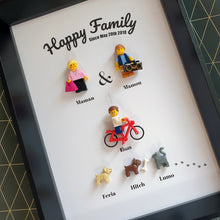 Upload Image to Gallery, Family Portrait Frame Lego Bricks Kids Babies Minifigures Custom Personalized Minifigure Grand Parents Sister Brother Family Tree Art Couple Decoration Baby Fathers Day Mothers Day Christmas Wedding Baptism Anniversary Retirement Souvenir Valentine's Day Group Gift Portraits of Felie family animals cat dog