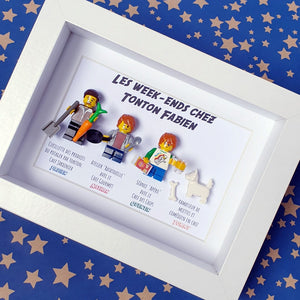 Family portrait in customizable Lego minifigures - Childhood memory at Uncle Lego painting