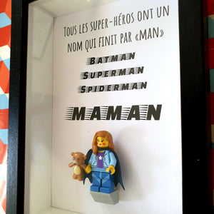 """Lego frame Mother's Day all superheroes name that ends in """"MAN"""" geek cape Portraits of Felie custom made minifigure Customizable portrait original atypical"""
