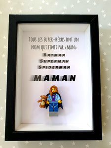 "Lego frame Mother's Day all superheroes name that ends in ""MAN"" geek cape Portraits of Felie custom made minifigure Customizable portrait original atypical"