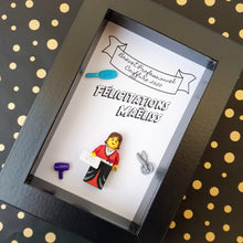 Upload the image to the gallery, An original gift: an individual personalized frame with a lego figurine to congratulate a young graduate (Brevet, Bac, competition, BTS, DUT, License, Master)