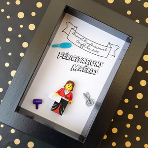 An original gift: an individual personalized frame with lego figurine to congratulate a young graduate (Brevet, Bac, competition, BTS, DUT, License, Master)