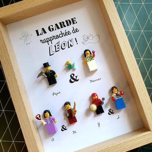 An original baptismal gift with parents, godfather godmother - The close guard - made to measure and customizable in Lego minifigures