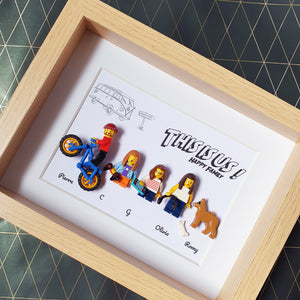 Representation of the family in the form of a customizable family table in Legos - Vanlife MTB traveler gamer