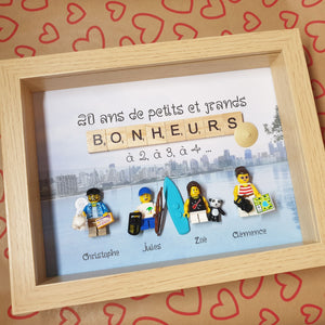 A made-to-measure family portrait, personalized with Lego to celebrate 20 years of marriage! A nod to Indonesia whose family is passionate!