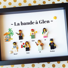 Upload the image to the gallery, Portrait frame of a group of friends, made from Lego minifigures customizable online, an original gift for a common gift, childhood friend