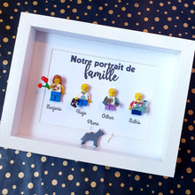 Upload the image to the gallery, Family portrait in customizable Lego minifigures online Composition of custom figurines an atypical gift