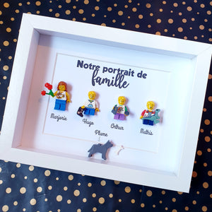 Family portrait in customizable Lego minifigures online Custom-made minifigures composition an atypical gift