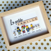 Upload image to gallery, Online customizable family portrait from Lego bricks with scrabble letters layout custom made by a graphic designer