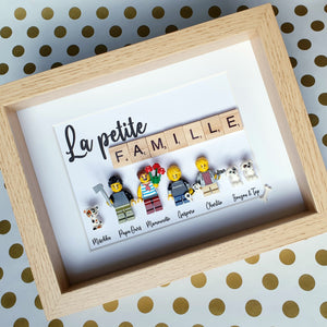 Customizable family portrait online from Lego bricks with scrabble letters layout custom made by a graphic designer