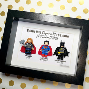 A portrait frame with Super Heroes for Father's Day: Batman, SuperMan, Thor, IronMan, The Joker, LesPortraitsDeFelie Marvel Lego Customizable Minifigures