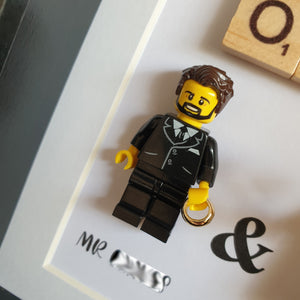 Wedding couple love leave married union request Lego bricks Frame portrait family friends children babies animals custom figurines personalized minifigure pacs art decoration Portraits of Felie personalized customizable wedding ring bouquet of flowers